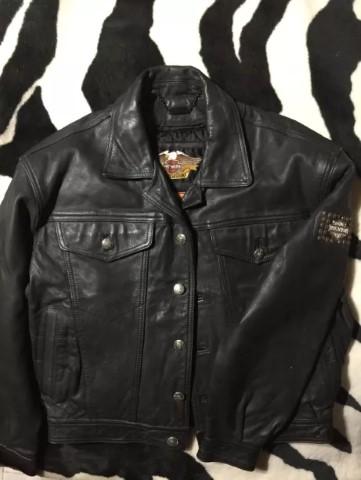 Conjunto calça e casaco de couro harley davidson